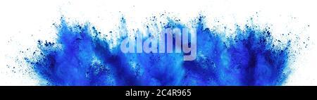 azul cian holi pintura color polvo festival explosión aislada sobre fondo blanco. impresión industrial concepto fondo