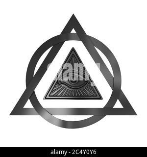 Concepto de símbolo masónico. Todo el ojo que ve dentro del triángulo de la pirámide sobre un fondo blanco. Presentación 3d Foto de stock