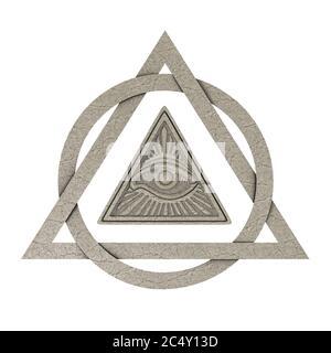 Concepto de símbolo masónico. Todos los ojos de vista dentro del Triángulo Pirámide como Piedra sobre un fondo blanco. Presentación 3d Foto de stock