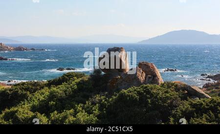 Panorama desde Capo D'Orso, Palaos, Provincia de Sassari, Cerdeña, Italia, Europa