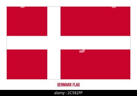 Dinamarca Bandera Vector Ilustración Sobre Fondo Blanco. Bandera Nacional De Dinamarca.