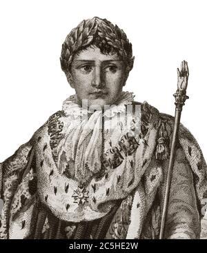 Retrato de Napoleón I (Napoleón Bonaparte) (1769-1821), emperador de los franceses, en las vestiduras imperiales Foto de stock