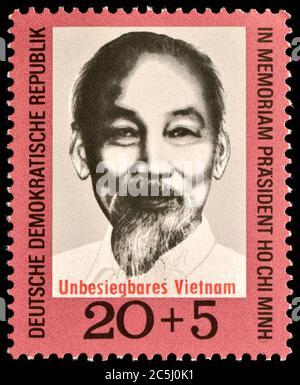 Sello de franqueo de Alemania Oriental (1970) : en memoria de Ho Chi mi (1890 - 1969)