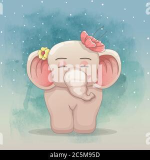 lindo elefante bebé con hermosas flores. estilo de arte vectorial dibujado a mano