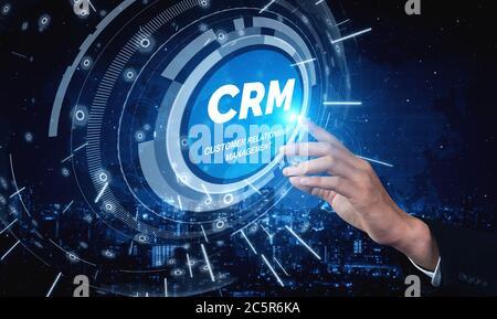 CRM Gestión de relaciones con clientes para el negocio de ventas concepto de sistema de marketing