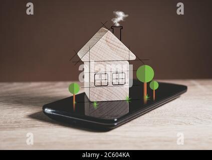 Proyecto de una casa de madera concepto de la vida moderna.
