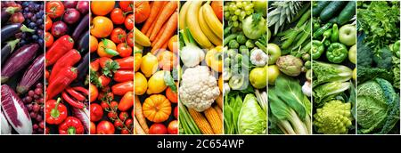 Fondo panorámico con surtido de frutas y verduras orgánicas frescas en colores arcoiris Foto de stock