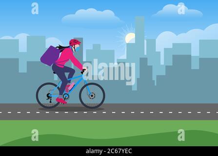 Una chica de reparto en bicicleta con mochila conduciendo a través de un área urbana vector ilustración de diseño plano Foto de stock