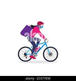 Una chica de parto en bicicleta con mochila conduciendo a través de una ilustración de vector de área urbana Foto de stock