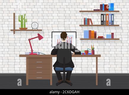 Vista posterior de Business Man trabajando en el ordenador de sobremesa en la oficina moderna