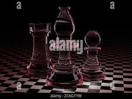 Ilustración 3D. Piezas de ajedrez peón, Torre, elefante de vidrio en el tablero en una pequeña jaula. Con retroiluminación roja y Burdeos. Sobre fondo negro. El concepto de juegos de mesa, lógica, entrenamiento para el cerebro.