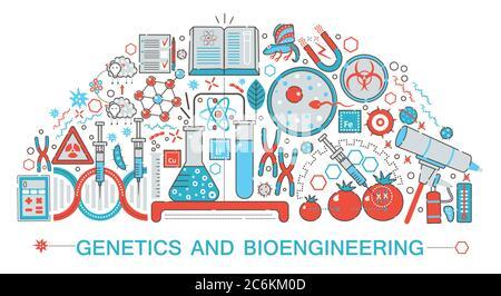 Diseño moderno de línea fina biología, genética y tecnología de bioingeniería concepto de ciencia para web banner web, presentación, volante y cartel