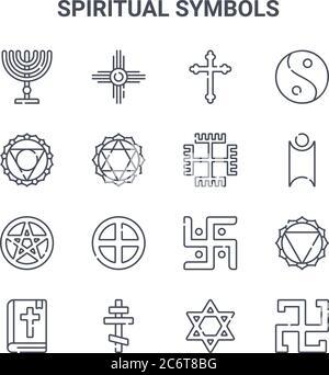 conjunto de 16 símbolos espirituales concepto de iconos de línea vectorial. iconos de 64x64 de trazo fino como nativo americano, visuddha, humanismo, jain, cruz ortodoxa, swas