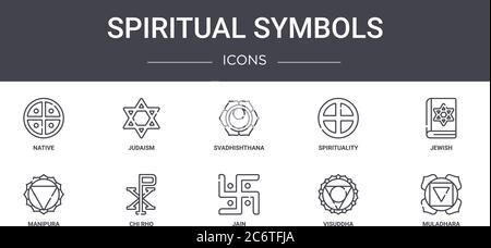 símbolos espirituales conceptos de línea iconos conjunto. contiene iconos utilizables para web, logo, ui/ux como el judaísmo, espiritualidad, manipulación, jain, visuddha, muladhar