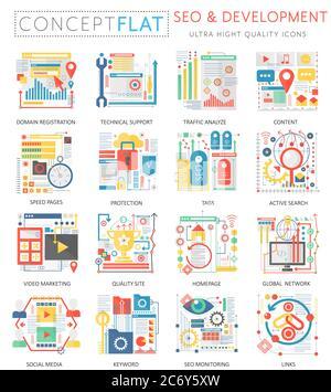 Infografías mini concepto SEO y desarrollo de iconos para la web. Color de calidad superior conceptual diseño plano gráficos web elementos iconos. Conceptos de salud de la medicina