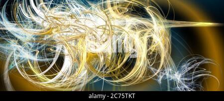 Apophysis fractal para fondos abstractos de arte surrealista y fondos futuristas o de ciencia ficción, en una ilustración 3D azul y dorado.