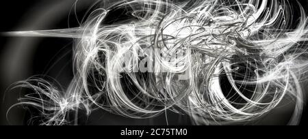 Apophysis fractal futurista para fondos de escritorio abstractos surrealistas del arte o fondos de la ciencia ficción, en una ilustración 3D en blanco y negro.