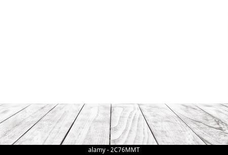 Mesa blanca de madera vacía aislada sobre fondo blanco