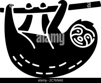 Icono de glifo negro perezoso. Animal arbóreo sudamericano. Bonita fauna herbívora, exótica silueta de fauna símbolo en el espacio blanco. Adorable perezoso colgando