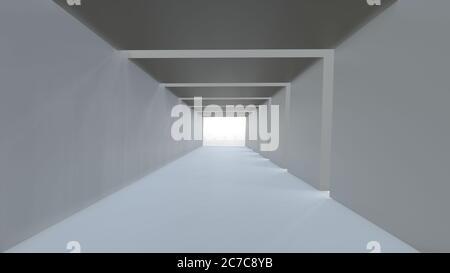 Fondo vacío largo pasillo moderno claro, blanco túnel cuadrado. Imagen de renderizado en 3D