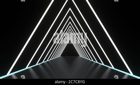Fondo abstracto líneas brillantes túnel, luces de neón, portal triangular. Color blanco. Imagen de renderizado en 3D