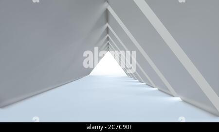 Fondo vacío largo pasillo moderno claro, blanco túnel triangular. Imagen de renderizado en 3D