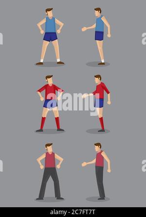 Vista frontal y lateral del hombre en ropa deportiva y actividades para diferentes actividades deportivas. Personajes de dibujos animados vectoriales aislados sobre fondo gris.