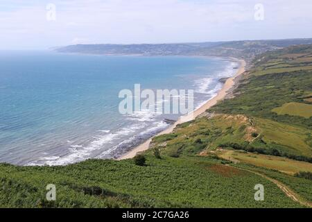 Vista hacia el oeste desde Golden Cap, South West Coast Path, Dorset, Inglaterra, Gran Bretaña, Reino Unido, Reino Unido, Europa