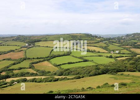 Stonebarrow Hill visto desde Golden Cap, South West Coast Path, cerca de Lyme Regis, Dorset, Inglaterra, Gran Bretaña, Reino Unido, Reino Unido, Europa