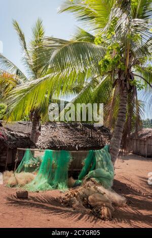 Vista de un pueblo costero de Madagascar, palmeras bordeadas
