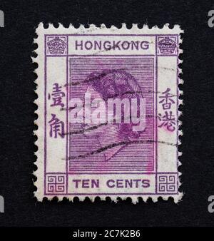 Hong Kong, Colonia de la Corona Británica - diez centavos 10c sello postal con retrato de la Reina Isabel II 1954