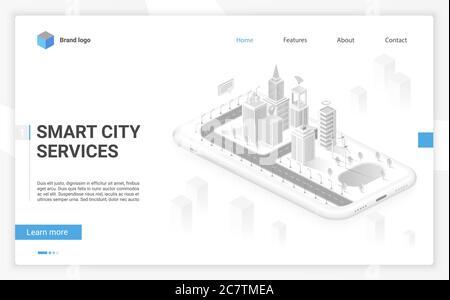 Holograma de ciudad inteligente en pantalla de smartphone con servicios e iconos inteligentes, Internet de las cosas, red de negocios y realidad aumentada isométrica sitio web diseño concepto vector ilustración