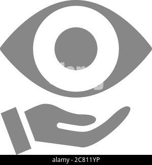 Ojo humano en la mano icono gris. Atención médica, tratamiento médico, símbolo de prevención de enfermedades Foto de stock
