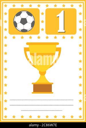 Certificado moderno de fútbol con lugar para su contenido, para niños primer lugar .