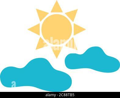 sol y nubes cielo plano estilo icono vector ilustración diseño