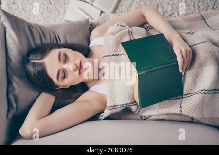 Concepto de libro de lectura a última hora de la noche. Vista de ángulo alto foto de niña tranquila mantener poesía libro de texto dormir cubierta cerrar cuadros manta de cuadros mienten divan adentro