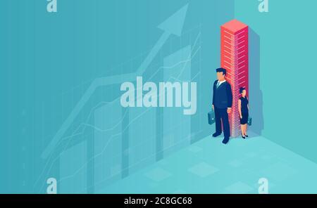 Vector de un hombre de negocios y una mujer de negocios de pie de lado del gobernante. Diferencia y discriminación en la vida profesional, promoción de la carrera