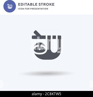 Vector de icono de sloth, signo plano relleno, pictograma sólido aislado en blanco, ilustración de logotipo. Icono de sloth para la presentación.