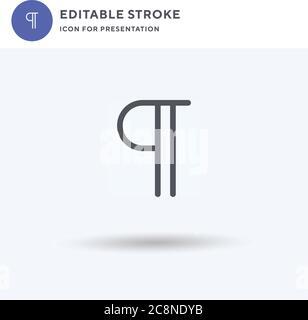 Párrafo icono vector, relleno plano signo, sólido pictograma aislado en blanco, ilustración del logotipo. Icono de párrafo para la presentación.