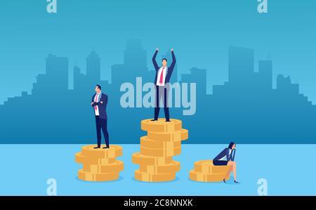 Concepto de diferencia salarial y brecha de género para empleados. Vector de una empresaria que es recompensada lo menos posible