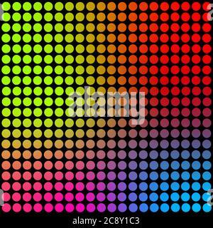 Círculos de color neón en la textura de fondo cuadrado de tamaño grande y negro. Fondo de pantalla de arte abstracto. Póster retro de arte contemporáneo.