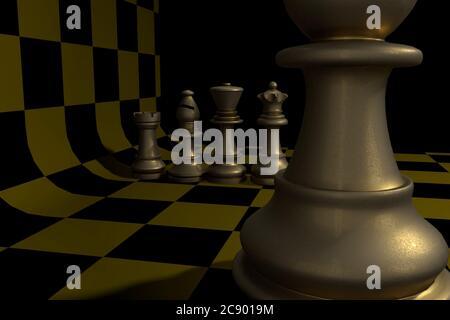 Ilustración 3D de piezas de Ajedrez: rey, Reina, Rook, Obispo, peón en primer plano hecho de metal viejo, sobre un tablero de ajedrez curvado negro y amarillo.
