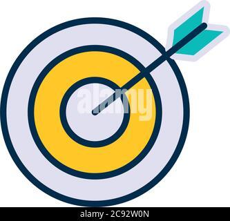 icono de blanco y arco sobre fondo blanco, estilo de línea y relleno, ilustración vectorial Foto de stock