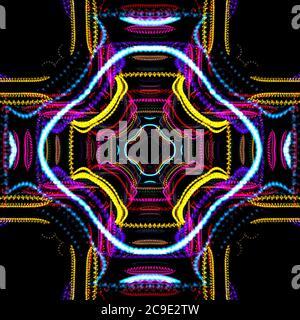Fondo de pantalla Kaleidoscope, imagen resumen hipnótica, patrón caleidoscópico tribal psicodélico, diseño de textura, caleidoscopio Resumen club caleidescopico Foto de stock