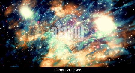 Ilustración de un campo de estrellas ficticio, nebulosas oscuras, sol brillante y galaxias.