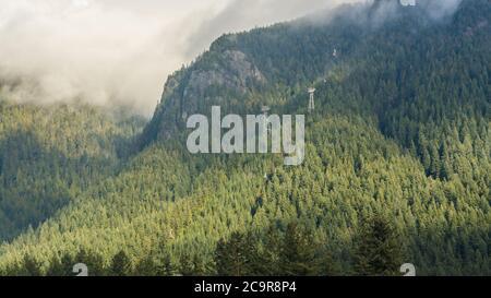 Una vista escénica del embalse de Cleveland Dam rodeado de montañas, North Vancouver, Canadá