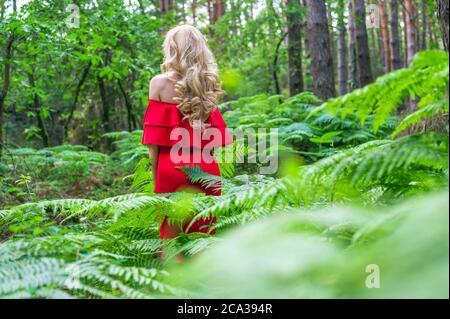 Vista posterior de una hermosa chica rubia en un elegante vestido rojo en el bosque de hadas. El ambiente es fantástico. Foto de alta calidad.