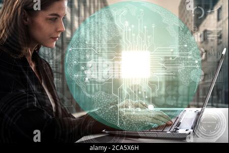 Concepto de Aprendizaje de AI e Inteligencia Artificial.