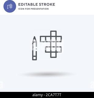 Vector de icono de crucigrama, signo plano relleno, pictograma sólido aislado en blanco, ilustración de logotipo. Icono de crucigrama para presentación.