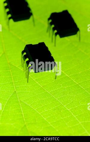 Insectos robóticos en hoja verde radiactiva